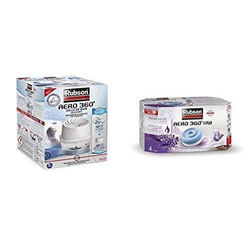 Rubson AÉRO 360° Absorbeur d'Humidité spécial Salle de Bain, Déshumidificateur anti-odeur et anti-humidité, inclus 1 recharge neutre et 4 recharges à la lavande de 450 g
