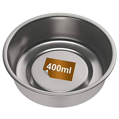 Futternapf 400ml Ø 13cm Fressnapf Wassernapf Trinknapf aus Edelstahl für Napfunterlage für Hund Welpen Katze Kaninchen Hasen