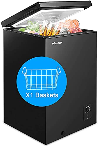 Chest Freezer Nictemaw 3.4 Cu.Ft Large Capacity Refrigerator with Energy Saving & Low Noise, 3 Gears Adjustable Temperature, with Removable Basket Deep Freezer for Kitchen/Garage/Basement(Black)