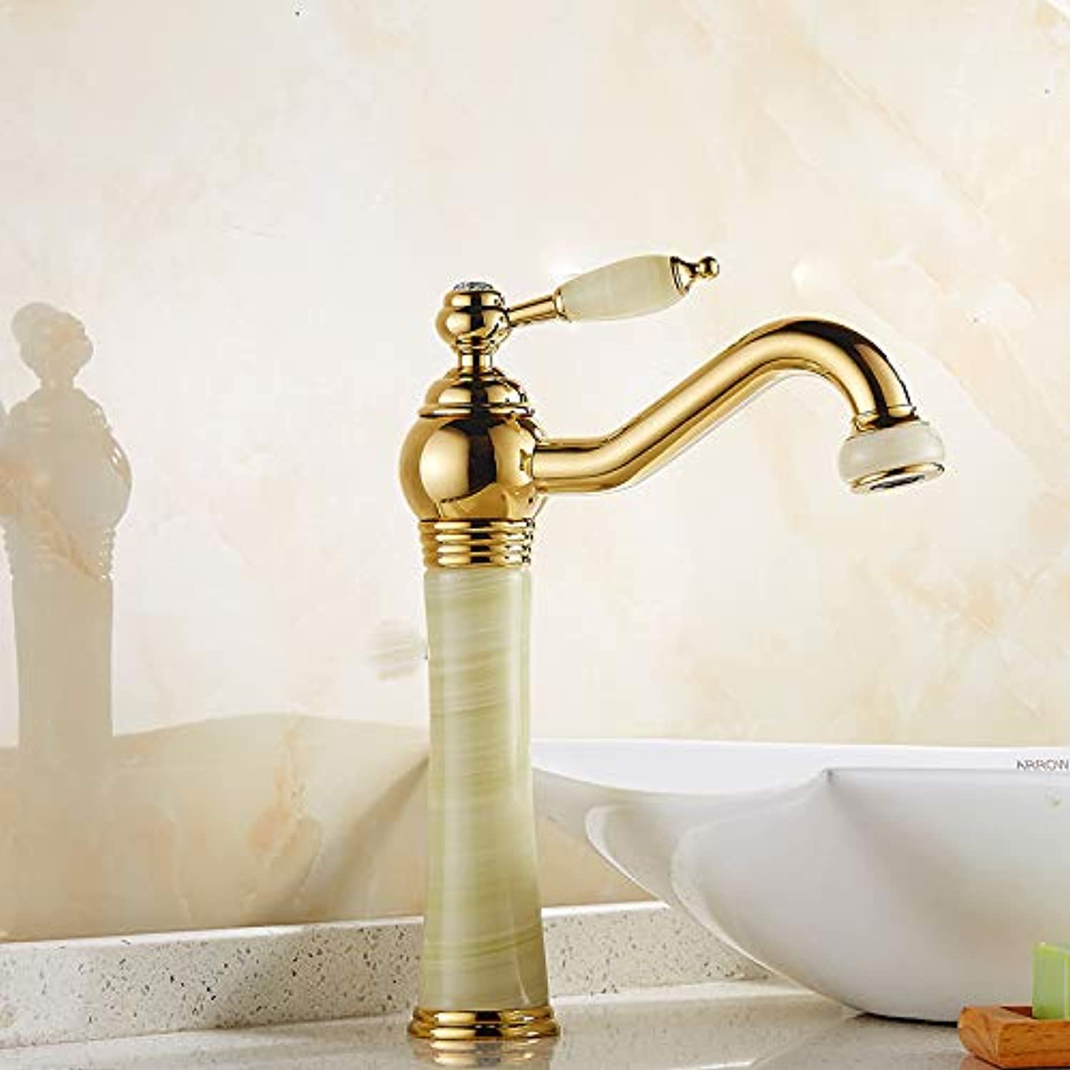 Hlluya Professional Sink Mixer Tap Kitchen Faucet The copper gold faucet hot and cold single hole basin basin sink vanity faucet, plus high golden Jade Belt Drill Faucet