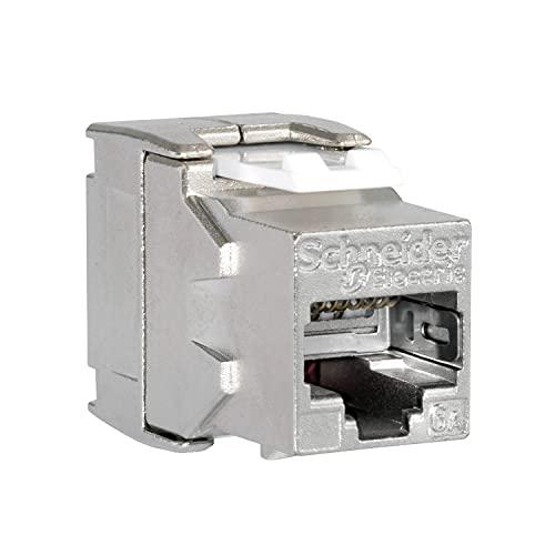 Conector hembra RJ45, Actassi, STP, categoria 6A, con apatallamiento, 3,7 x 2,4 x 1,7 centímetros, color metálico (referencia: VDIB1777XB24)