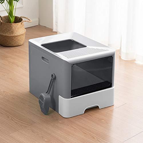 NYKK Arenero Gatos Top-Box Entrada de la litera del Gato Grande Completamente Cerrado WC Litter Box Desodorante Plegable Caja de Arena del Gato Suministros de Arena for Gatos Pan (Gris) Caja de Arena