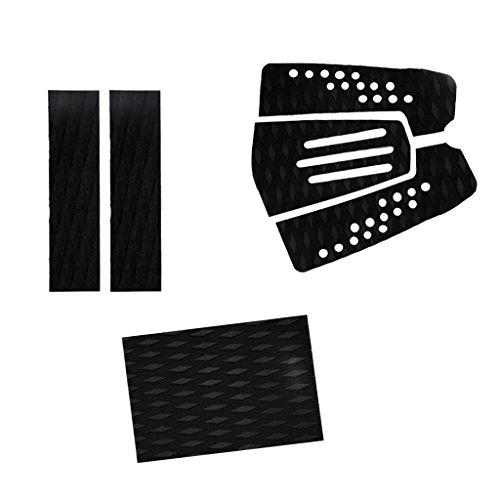 MagiDeal 6 Piezas Almohadilla de Tracción de Cola Agarre de Cubierta EVA con Ranura para Tabla de Surf - Negro