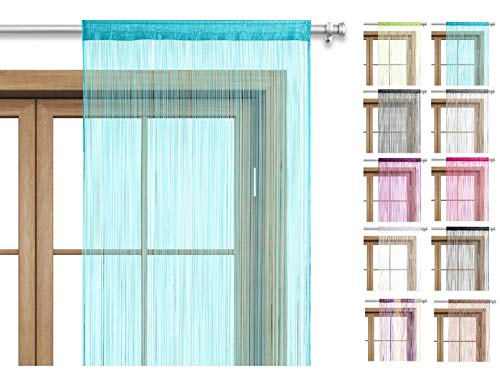 wometo Fadenvorhang Türvorhang Fäden 90x245 cm türkis - Stangendurchzug kürzbar waschbar Uni einfarbig in vielen bunten Farben