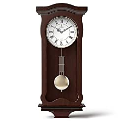 Pendulum Wall Clock Battery Operated - Silent Quartz Wood Pendulum Clock - Dark Wooden Decorative Wall Clock Pendulum, for Living Room, Kitchen & Home Décor, 23.5 x 9.75 Inches