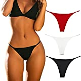 Cotton Thongs for Women Sexy Seamless Woman G String Panties 3 Pack Set (Black/Red/White, X-Small)
