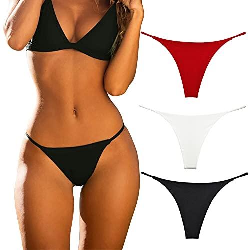 KUKU PANDA Tangas de algodón para Mujer Conjunto de 3 Bragas de Tanga sin Costuras Sexis para Mujer (Negra / Roja / Blanca, Mediano)