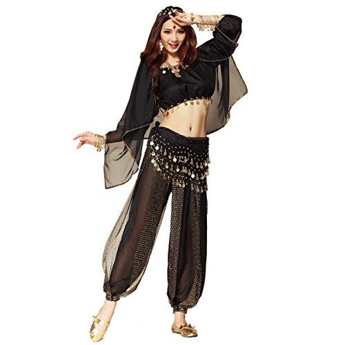 Best Dance, costume da donna per la danza del ventre, 3 pezzi, top con maniche larghe, pantaloni da odalisca, sciarpa per i fianchi