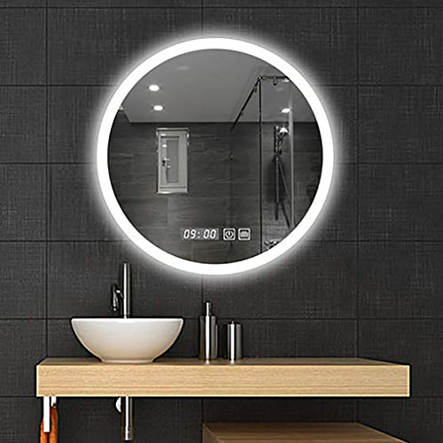 Ronde LED-verlichting badkamerspiegel, explosiebestendig HD-spiegeloppervlak, wit/warm licht, aanraakschakelaar + klok/temperatuurweergave, Φ: 60/70/80 cm