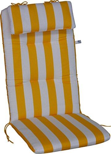 Angerer Sesselpolster hoch Design Blockstreifen Stuhlaulfage, gelb/weiß, 120 x 50 x 6 cm, 2103/015