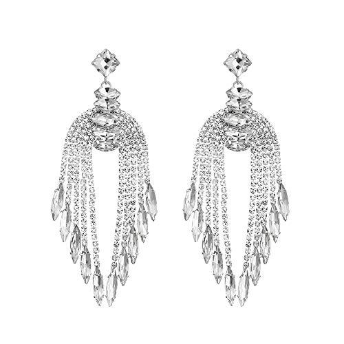 ONEBUYONE Braue Chandelier Ohrringe, Silber Teardrop Strass Kristall baumeln Tropfen Ohrring Set für Damen Geschenke