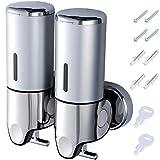 Coolty Bomba dispensadora de jabón de dos cámaras, dispensador de desinfectante manual de pared, contenedor de loción de champú 1000ML dispensador de gel de ducha para inodoro baño cocina hotel