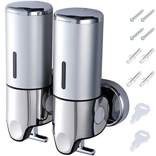 Coolty - Dispenser per sapone a due camere, erogatore manuale a parete per disinfettare, 1000 ml, contenitore per shampoo e lozioni per doccia, per bagno, hotel, cucina (cromato)