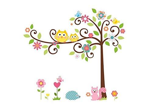 Etiqueta engomada de la pared del jardín de la infancia de la habitación de los niños de la ardilla del árbol curvado del búho de la historieta 50 * 70cm