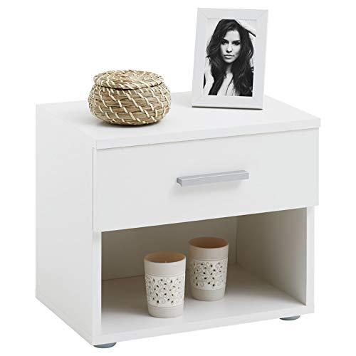 CARO-Möbel Nachttisch Nachtschrank Nachtkommode Mary Hochglanz weiß, 42 x 38 x 30 cm, mit Schublade und offenem Fach