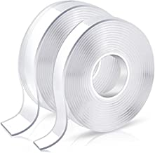 Double Sided Tape Heavy Duty, Double Stick Mounting Adhesive Tape (2 Rolls, Total 20FT), Clear Two Sided Wall Tape Strips, Removable Poster Tape for Home, Office, Car, Outdoor Use, Damage-Free
