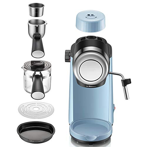 Cafetiere Expresso, Mousseur à Lait pour Cappuccino Pression de 5 bars/240ml Réservoir D'eau/800 watts/pour le domicile/bureau - Bleu