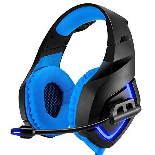 PS4 Headset, Wired Gaming Headset USB + 3.5mm met 50mm Driver Flexibele Microfoon Volume Control voor PC, Laptop, Video Game, Xbox One (Kleur : Blauw)