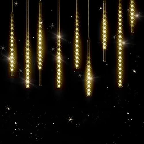 Monzana Meteorschauer Lichterkette Regen LED Lichteffekt 8,6 m Außen Innen Eisregen Lichtervorhang Weihnachten Warmweiß