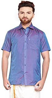 SJS-Men's Half Sleeve Solid Art Silk Shirt (Medium Purple, 36)