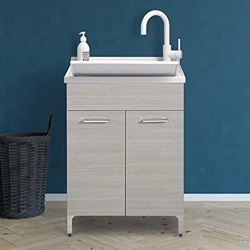 Mobile lavatoio lavanderia in legno con vasca in resina resistente agli acidi, completo di asse di lavaggio e kit sifone + piletta (60x50 cm 2 ante, Rovere Grigio)