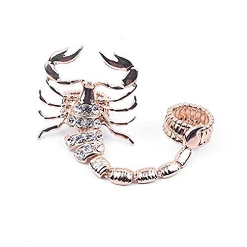 Anillo para hombre, diseño de escorpión, diamante, gótico, de oro, de motero, de aleación, punk, joya de fantasía, regalo