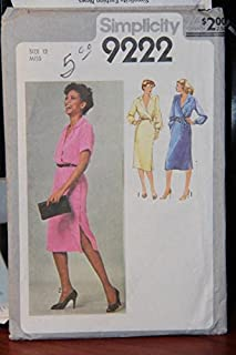 Simplicity Pattern 9222 Size 12 Miss - Misses' Mock-Wrap Dress And Tie Belt