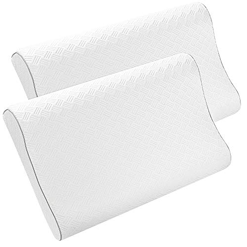 PiccoCasa 2 Pack Cooling Gel Memory Foam Pillow, Cervical Pillow for Neck Pain, Contour Pillow Support for Back, Stomach, Side Sleepers, Pillows for Sleeping, CertiPUR-US, Queen Size