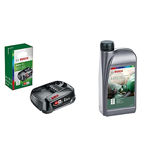 Bosch Home and Garden Bosch Batería De Litio De 18 V / 2,5 Ah [Power For All]+ 2607000181 Aceite Biodegradable, Verde