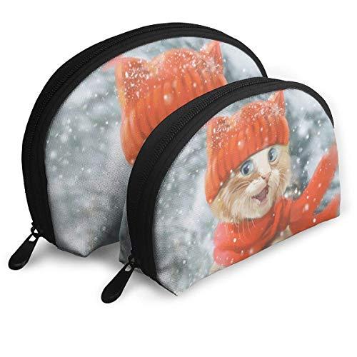 XCNGG Bolsa de almacenamiento Gato lindo en invierno Bolso de maquillaje de viaje portátil Impermeable Organizador de artículos de tocador Bolsas de almacenamiento