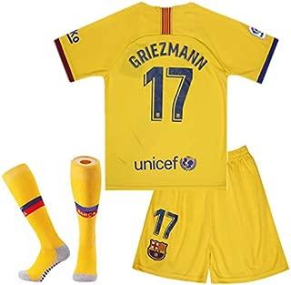 2019-2020 Barcelona #17 Griezmann T Shirt Home Kids Youth Soccer Jersey Shorts Socks Red/Blue