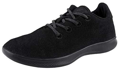 Urban Fox Beckett Herren-Wollschuhe | modische Sneakers Herren | Woll-Sneaker Herren | leichte Woll-Läufer, Schwarz (schwarz), 46 EU