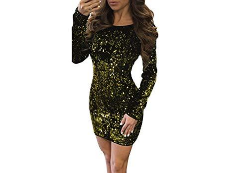 cxzas852 Kleid Lady Pailletten Langarm V-Ausschnitt Abendessen Sexy Shiny Gown Kleid