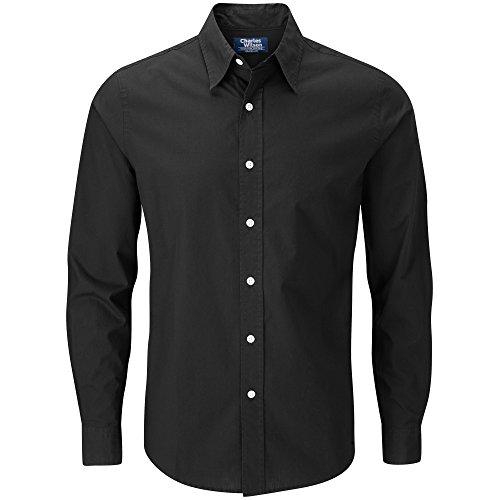 Charles Wilson Langärmliges Freizeithemd (Medium, Plain Black)