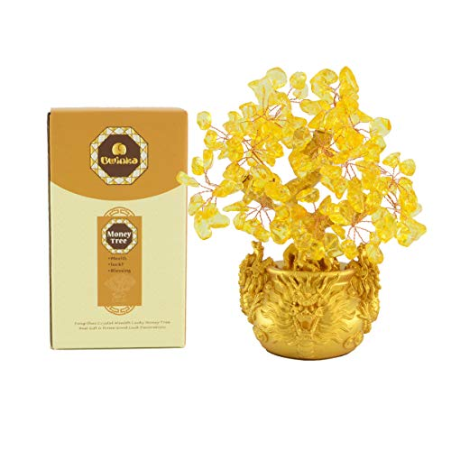 Bwinka Feng Shui Citrine/Yellow Crytal Money Tree Bonsai with Chinese Decoration for Luck and Wealth (Dragon Pots)