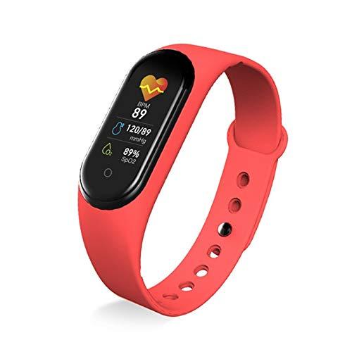 GYY M5 Smart Band Portable Support Monitor Pedómetro Tasa De Corazón Rastreador De Fitness Pulsera Inteligente Pulsera Inteligente (Color : Red)