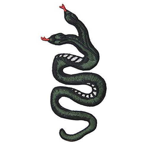 Parche bordado de serpiente, emblema para coser o planchar Double Headed Snake