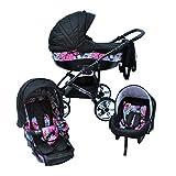 Cleo Kombi Kinderwagen 3 in 1 - schwarz mit Blumen - Radwahl (Vollgummireifen)