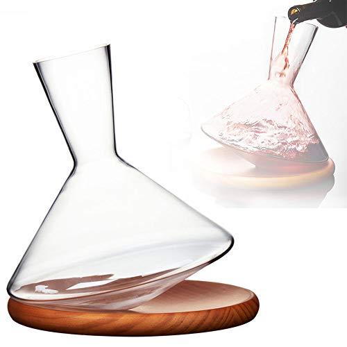 WHR-HARP Wine Decanter, Caraffa Set, Decantador de Vino Tinto de Cristal de Primera Calidad Sin Plomo, Diseño de Vaso, con Chasis de Madera Maciza, Es Un Excelente Regalo para Los Amantes del Vino