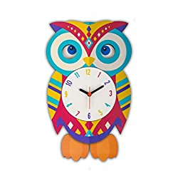 Phoenicus Products, Colorful, Swinging Pendulum, Wall Clock – 12-inch Diameter, Quartz, Wood, Easy to Read, Home/Office/Children's Room/Kitchen Wall Clock, Decorative Clock
