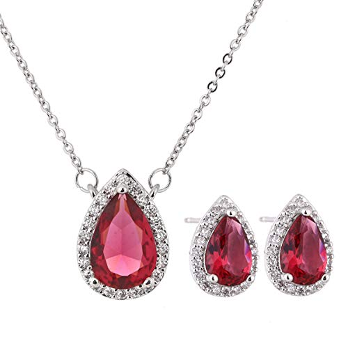 AMYJANE Crystal Jewelry Set for Women - Sterling Silver July Birthstone Red Cubic Zirconia Rhinestone CZ Teardrop Necklace Earrings Set for Girls Bridesmaids Bride Party Prom Costume Jewelry