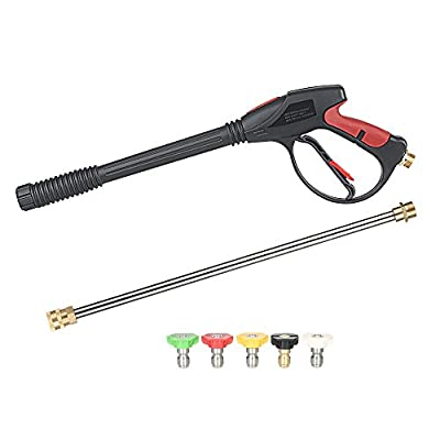 """KKmoon Pressure Washer Gun 4000 PSI Spray Gun with 18"""" Extension Wand + 5Quick Connect Nozzles and 1 Soap Nozzle for Car Pressure Power Washers from Kkmoon"""