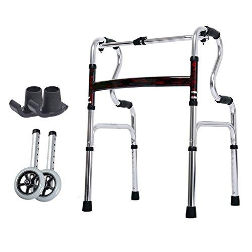 Leichte 3,6 kg Faltbare Rollator Walker Aid 4 Beine Gehstock Einstellbare Höhe Steh Toilettenrahmen für Erwachsene Senioren Behinderte | mit 2 Rad / Antirutsch Fußmatte | Aluminiumlegierung | Max Las
