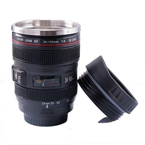FUNLAVIE Kameraobjektiv Design Trinkbecher Isoliertasse kamera kaffeetasse Deckel in Linsenoptik 400 ml schwarz