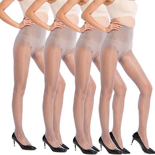 ANDIBEIQI 4 Pack Microfaser-Strumpfhose - Unsichtbar verstärkte, blickdichte Strumpfhose Damen Ultra-dünnen 30 DEN