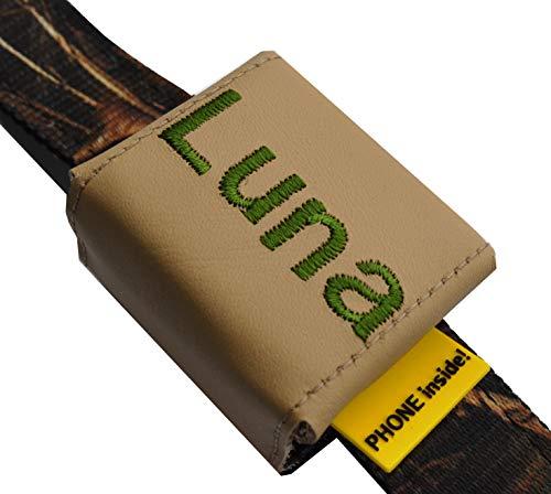 josil.li Trackertasche Bestickt, Nappaleder in 5 Farben, Stickgarnfarbe wählbar, mit Klett- und Steckverschluss, für GPS-Tracker 51x41x15mm