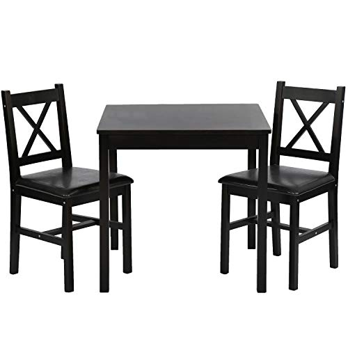 FDW Dining Kitchen Table Dining Set 3 Piece Wood in Door Square Small Farmhouse Dining Room Table Set Table and Chair for 2 Person, Dark Brown