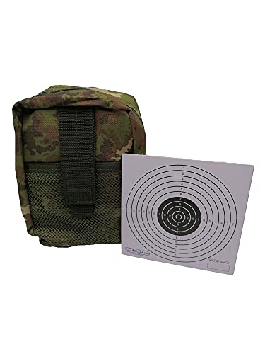 Glac Store Bolsillo táctico militar de camuflaje vegetado italiano con red frontal, cargadores de cinturón o chaleco, enganche de muelles y diana Target de cartón