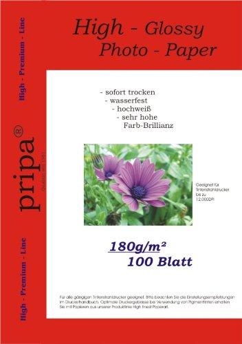 pripa 100 Blatt Fotopapier A4, 180g /qm, high –Glossy -sofort trocken –wasserfest - hochweiß-sehr hohe Farbbrillianz, Fuer Inkjet-Tinten- Drucker
