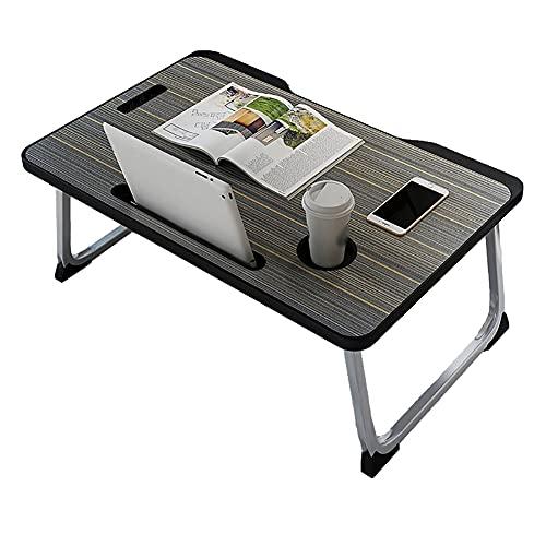 Dongxiao Mesa plegable para ordenador portátil, portátil, portátil, portátil, portátil, con ranuras para tableta y portavasos, bandeja para cama, muebles de oficina para el hogar (color negro)